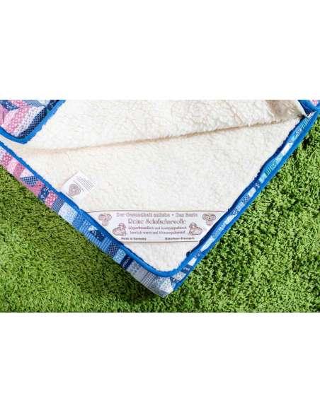 Saco de dormir de pura lana virgen de cordero y tela patchwork